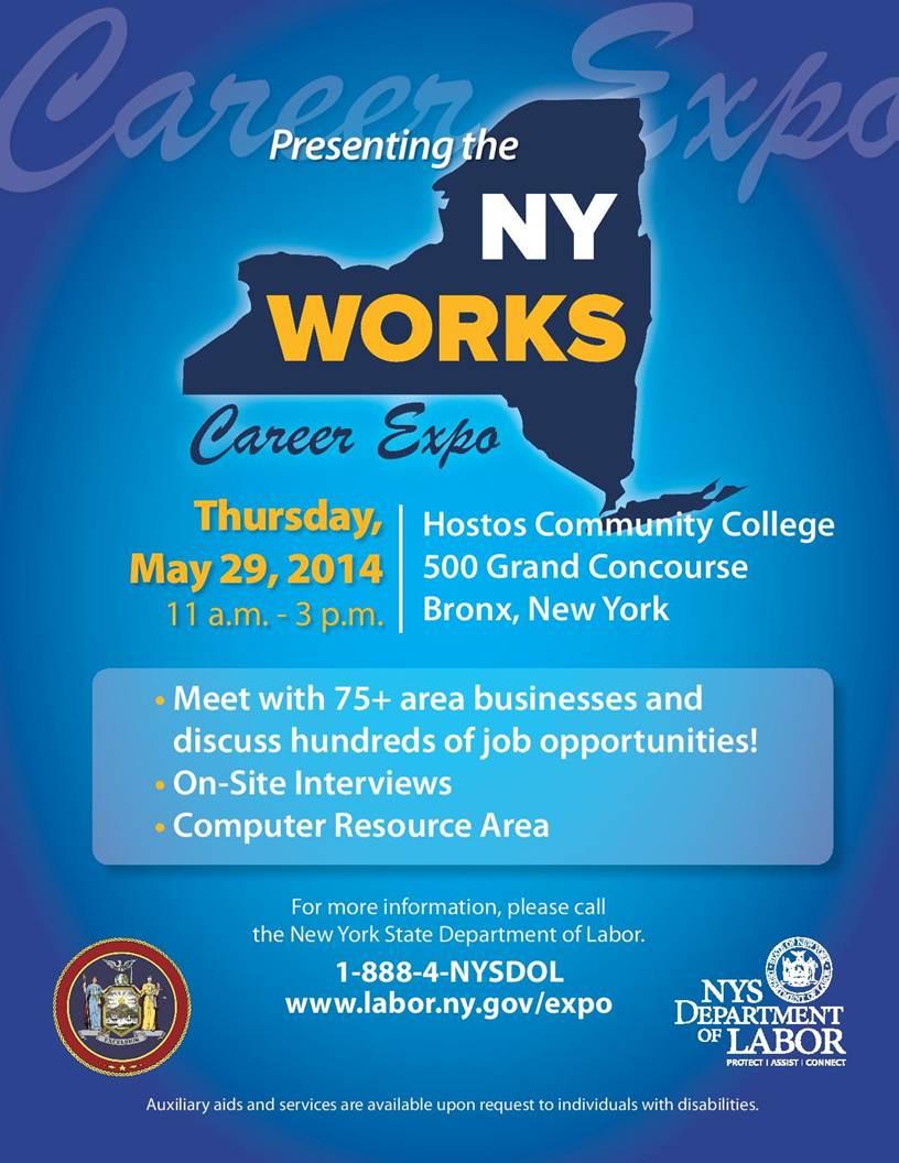 Job Fair May 29th Hostos GYM NYWORKS/Dept  fo Labor – Mr